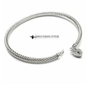 David Yurman 3mm Heart Lock Bracelet with Diamonds